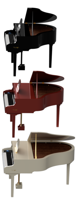 black red white portable mobile grand piano